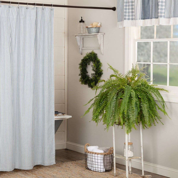 "Sawyer Mill Blue/Red/Charcoal Ticking Stripe Shower Curtain 72""x72"" curtain VHC Brands Blue"