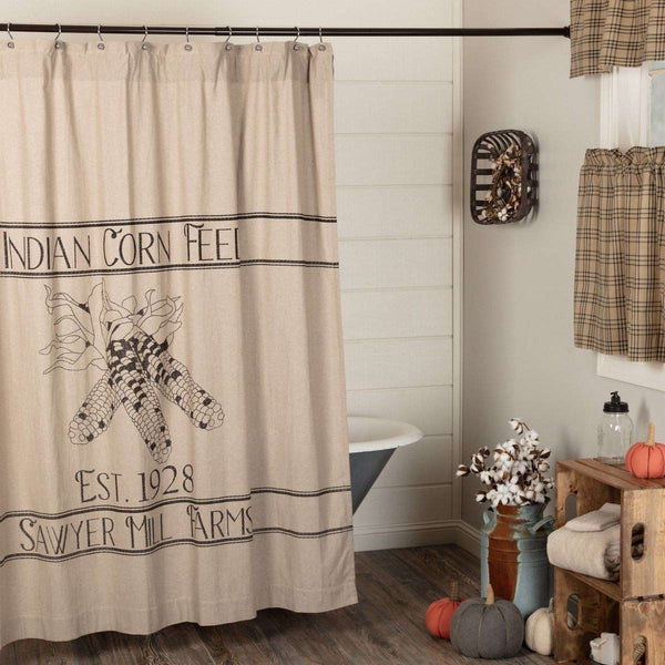 "Sawyer Mill Charcoal Corn Feed Shower Curtain 72""x72"" curtain VHC Brands"