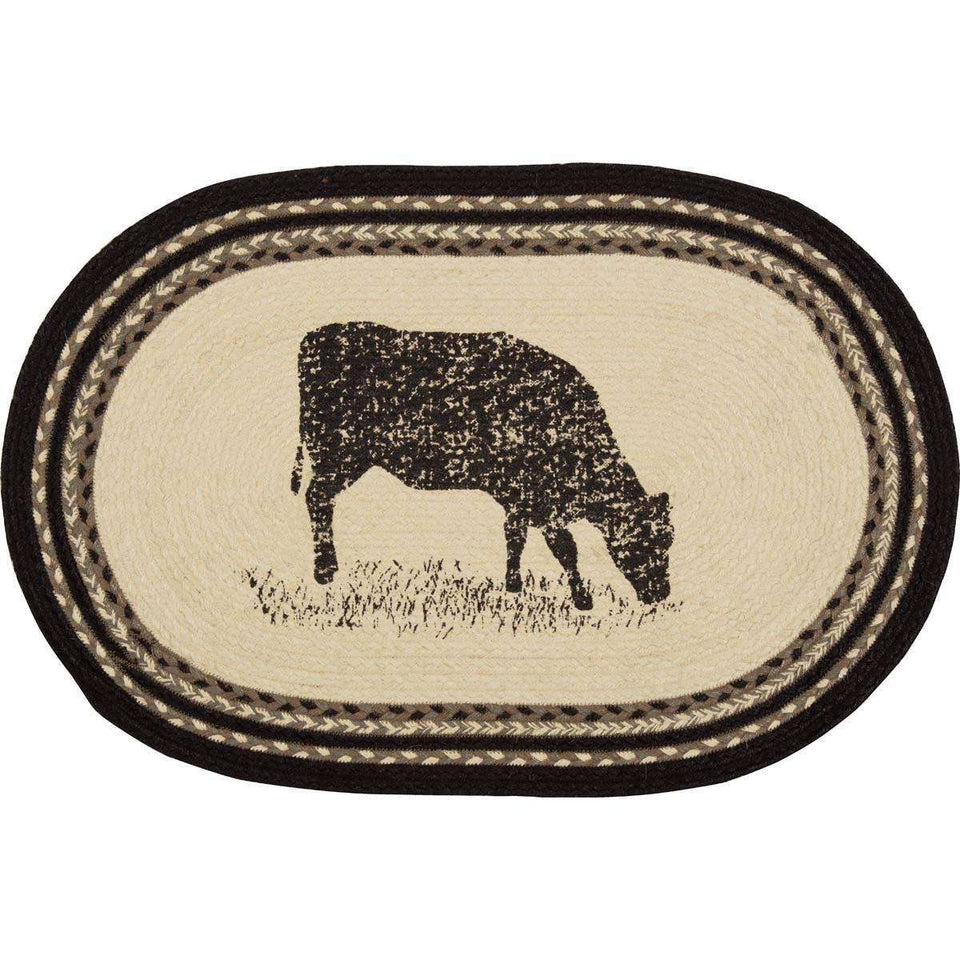 Sawyer Mill Charcoal Cow Jute Braided Rug Oval rugs VHC Brands 20x30 inch