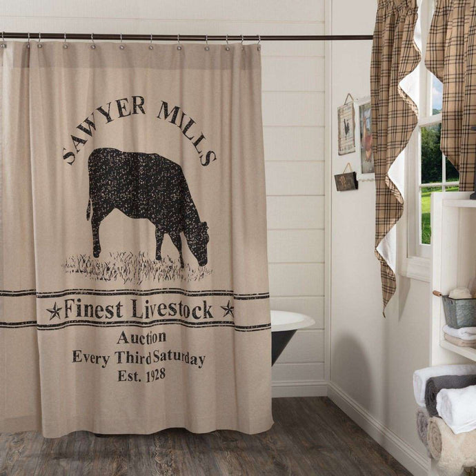 Sawyer Mill Charcoal Cow Shower Curtain 72