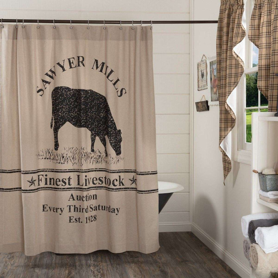 "Sawyer Mill Charcoal Cow Shower Curtain 72""x72"" curtain VHC Brands"