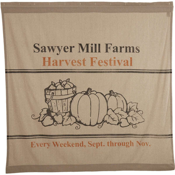 Sawyer Mill Charcoal Harvest Festival Shower Curtain curtain VHC Brands
