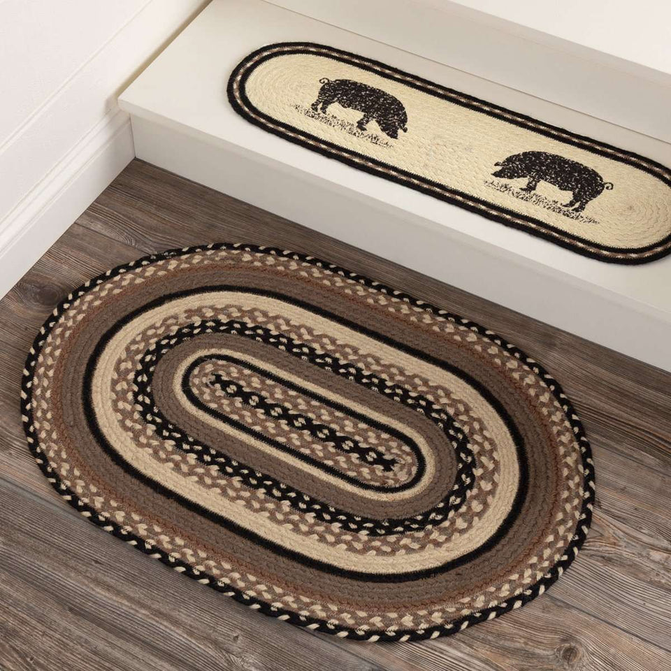 "Sawyer Mill Charcoal Jute Braided Oval Rugs VHC Brands Rugs VHC Brands 20"" x 30"""