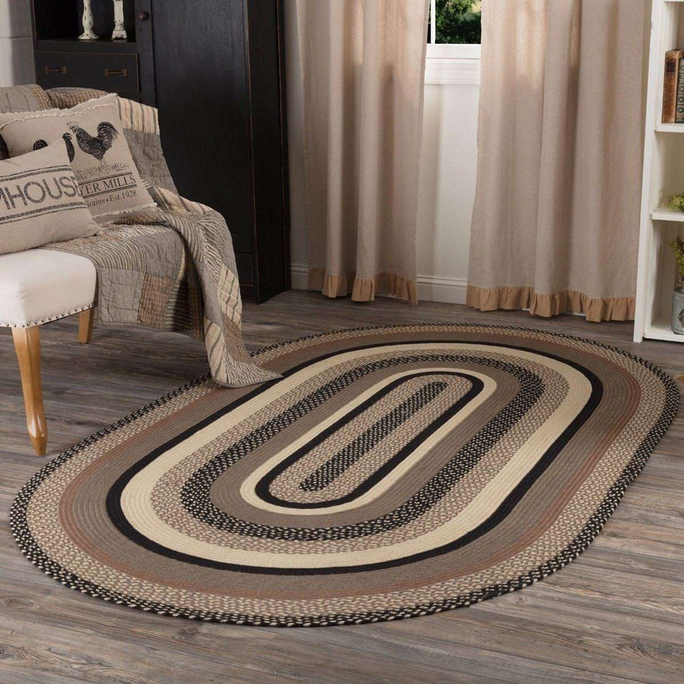 Sawyer Mill Charcoal Jute Braided Oval Rugs VHC Brands Rugs VHC Brands 5'x8'