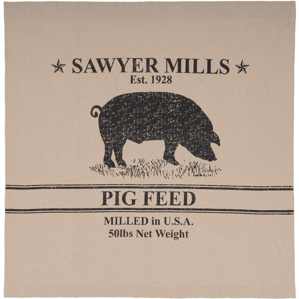 "Sawyer Mill Charcoal Pig Shower Curtain 72""x72"" curtain VHC Brands"