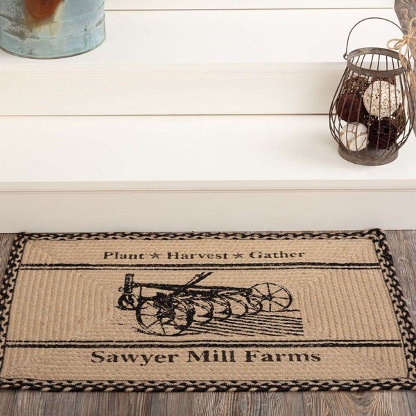Sawyer Mill Charcoal Plow Braided Jute Rug Oval/Rect VHC Brands rugs VHC Brands