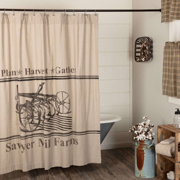 "Sawyer Mill Charcoal Plow Shower Curtain 72""x72"" curtain VHC Brands"