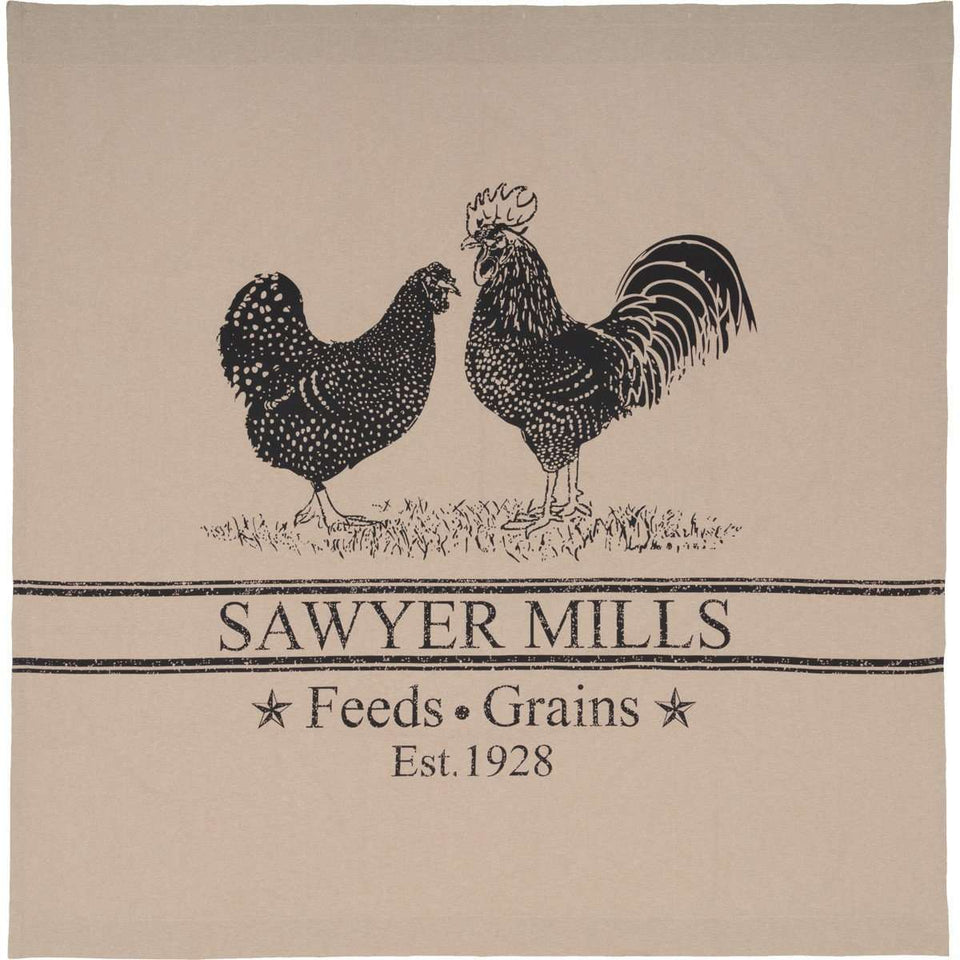 "Sawyer Mill Charcoal Poultry Shower Curtain 72""x72"" curtain VHC Brands"