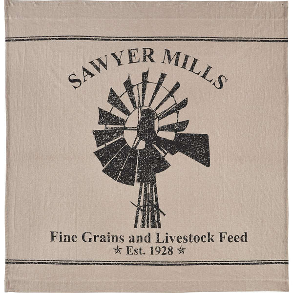 "Sawyer Mill Charcoal Windmill Shower Curtain 72""x72"" curtain VHC Brands"