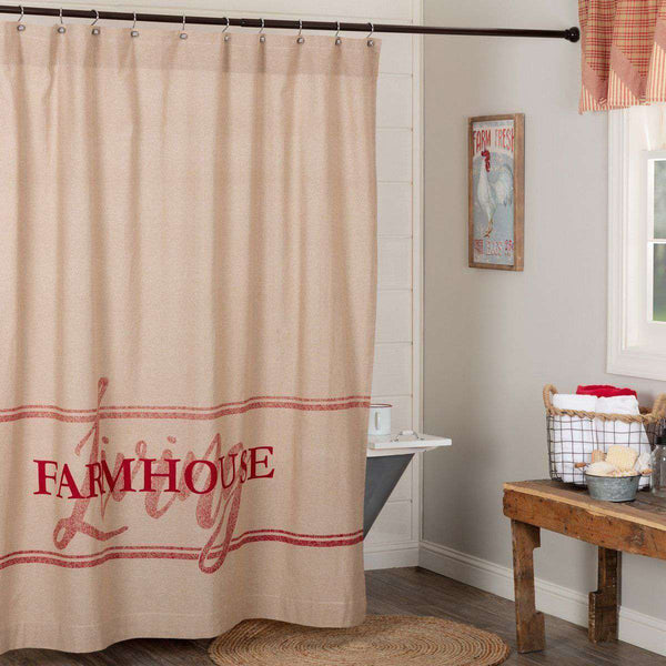 "Sawyer Mill Charcoal/Blue/Red Farmhouse Shower Curtain 72""x72"" curtain VHC Brands"