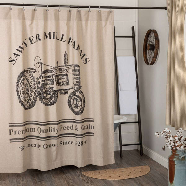 "Sawyer Mill Charcoal/Red Tractor Shower Curtain 72""x72"" curtain VHC Brands Charcoal"
