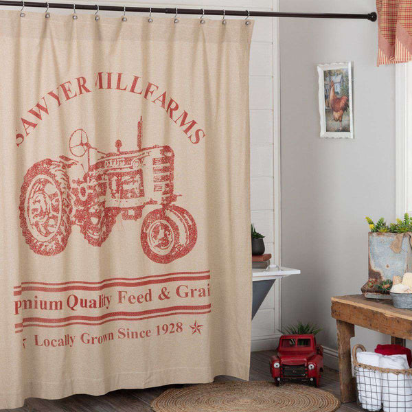 "Sawyer Mill Charcoal/Red Tractor Shower Curtain 72""x72"" curtain VHC Brands"