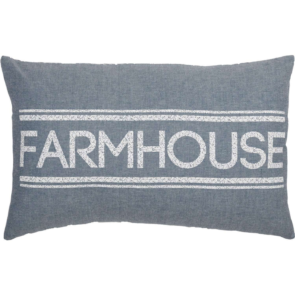 Sawyer Mill Farmhouse Pillow Charcoal, Red & Blue Pillows VHC Brands Blue