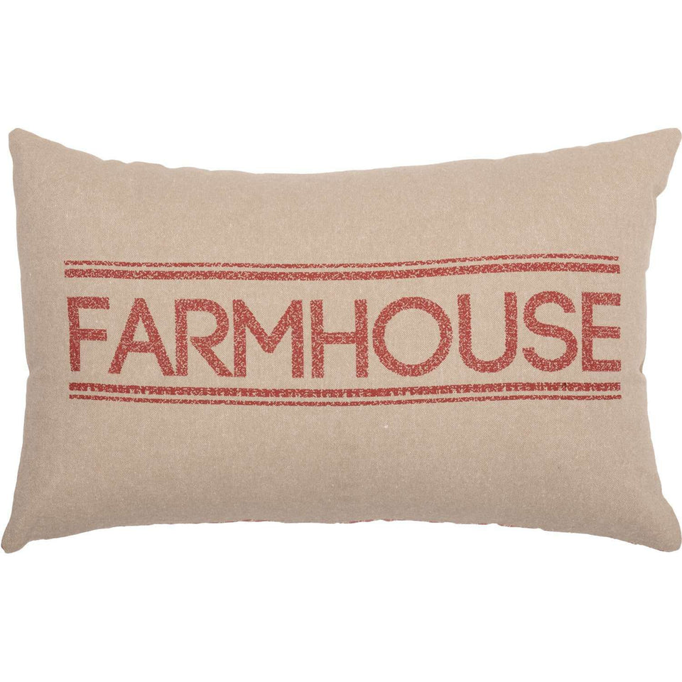 Sawyer Mill Farmhouse Pillow Charcoal, Red & Blue Pillows VHC Brands Red