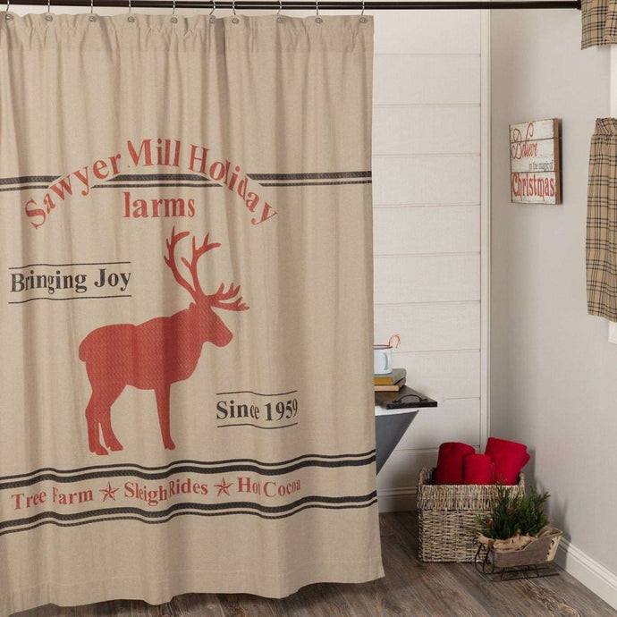 Sawyer Mill Reindeer Shower Curtain 72