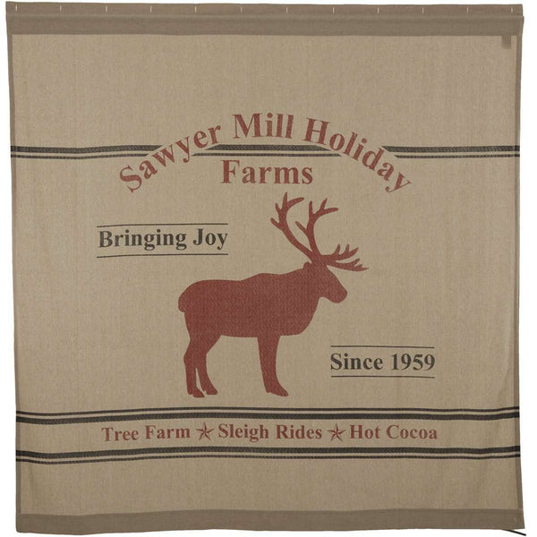 "Sawyer Mill Reindeer Shower Curtain 72""x72"" curtain VHC Brands"