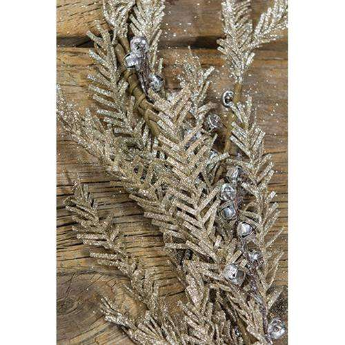 Silver Bell Glitter Pine Wreath Christmas CWI+
