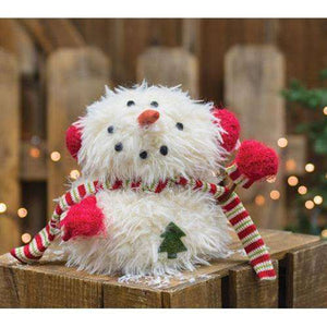 Sitting Furry Snowman w/Mittens Tabletop & Decor CWI+
