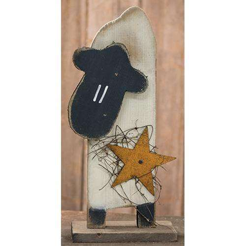 Skinny Sheep w/Metal Star on Base Tabletop CWI+