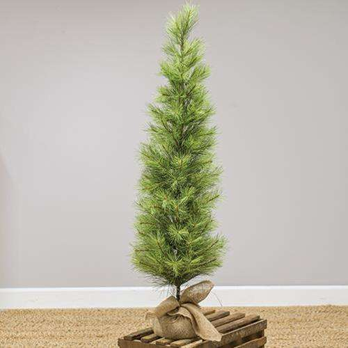 Slim Long Needle Pine Tree w/Burlap Base, 4 ft. Artificial Trees & Greenery CWI Gifts