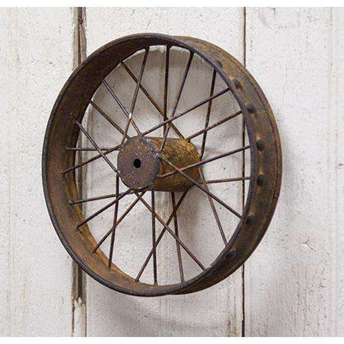 Small Antiqued Bike Wheel Metal Wall Decor CWI+