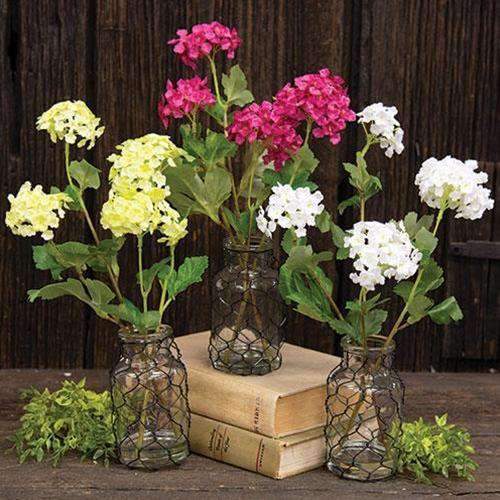 Snowball Flower in Glass Vase w/Chicken Wire, 3 Asstd. Florals CWI+