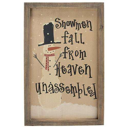 Snowmen Fall From Heaven Sign Fall Decor CWI Gifts