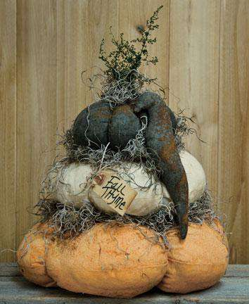 Stuffed Fat Pumpkin Stack w/ Crow Tabletop & Decor CWI+