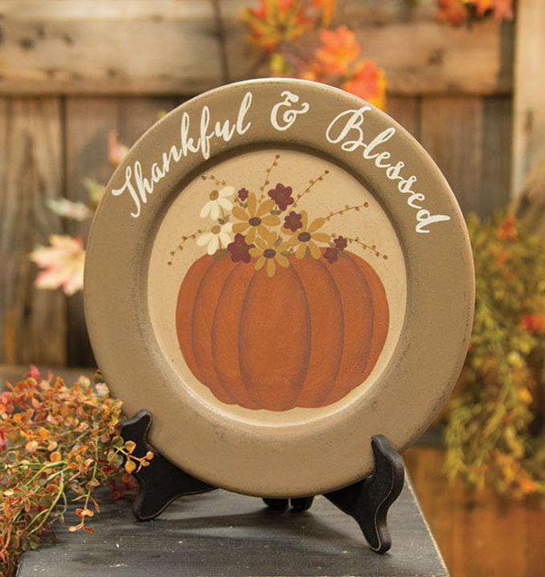 Thankful & Blessed Pumpkin Plate HS Plates & Signs CWI+