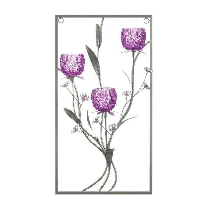 Three Candle Magenta Flower Wall Sconce Gallery of Light