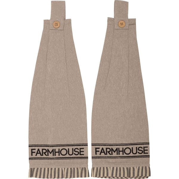 Sawyer Mill Charcoal Farmhouse Button Loop Kitchen Towel Set of 2 VHC Brands