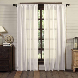 Tobacco Cloth Antique White Panel Curtain Fringed Set of 2 84x40 VHC Brands Curtains VHC Brands
