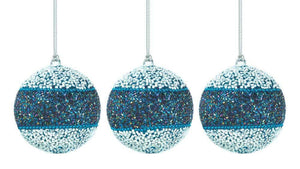 True Blue Beaded Ball Christmas Ornament Trio