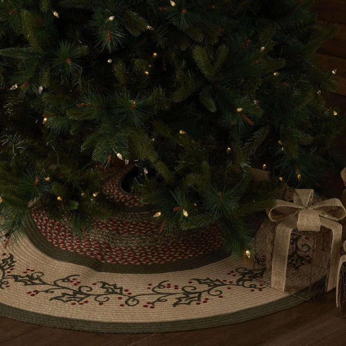 Holly Berry Jute Stencil Tree Skirt 55