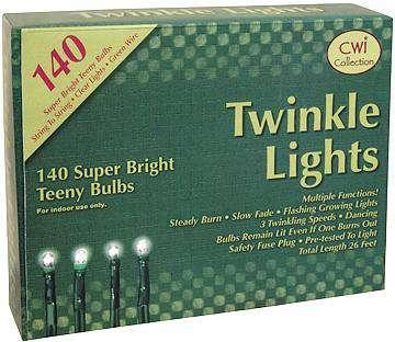 Twinkle Lights, Green Cord, 140 ct Light Strands CWI+