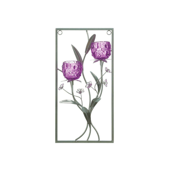 Two Candle Magenta Flower Wall Sconce Gallery of Light