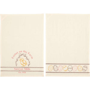 Sawyer Mill Easter on the Farm Chick Unbleached Natural Muslin Tea Towel Set of 2 19x28 VHC Brands