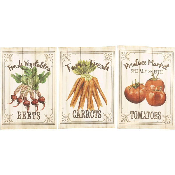 Farmer's Market Garden Veggie Unbleached Natural Muslin Tea Towel Set of 3 (Beets; Carrots; Tomato) VHC Brands