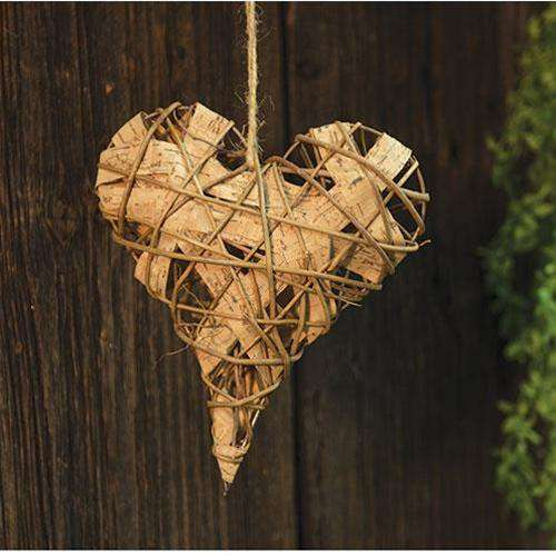 Vine & Faux Birch Heart, 7x8 Wall Decor CWI+