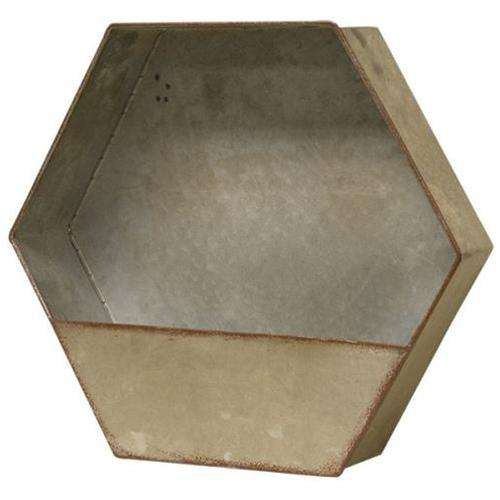 "Vintage Galvanized Hexagon Pocket, 12"" W Containers CWI+"