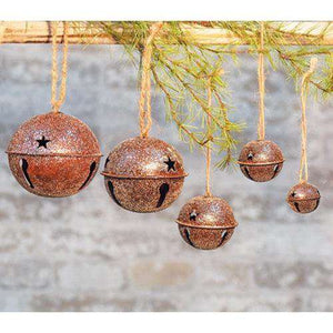 "Vintage Glitter Rusty Bell Ornament, 2.5"" Bells CWI+"