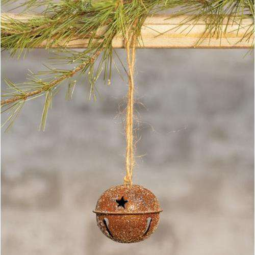 Vintage Glitter Rusty Bell Ornament, 2.5