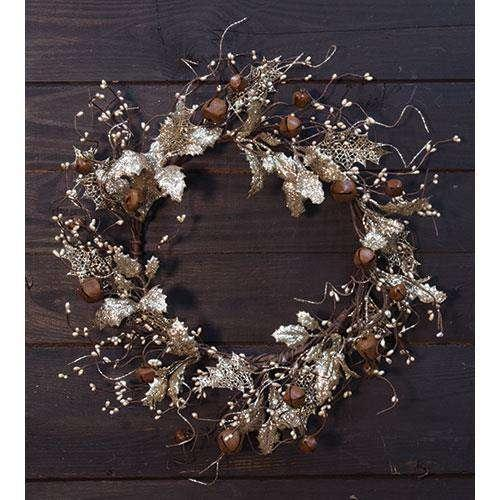 "Vintage Holly & Bells Wreath, 20"" Florals CWI+"