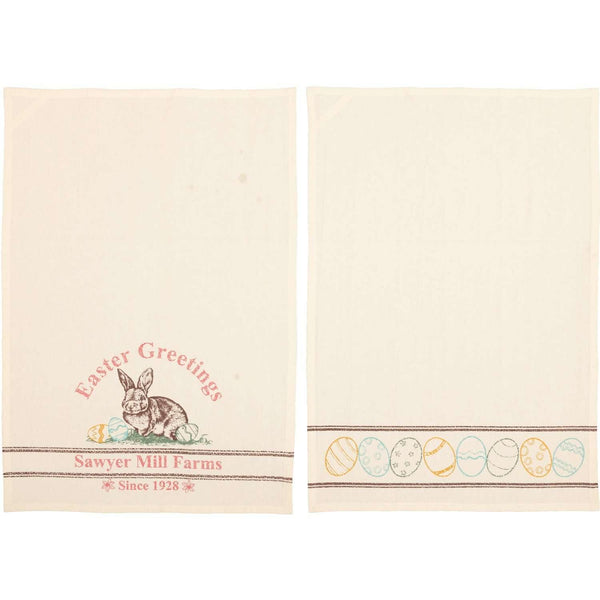 Sawyer Mill Easter Greetings Bunny Unbleached Natural Muslin Tea Towel Set of 2 19x28 VHC Brands