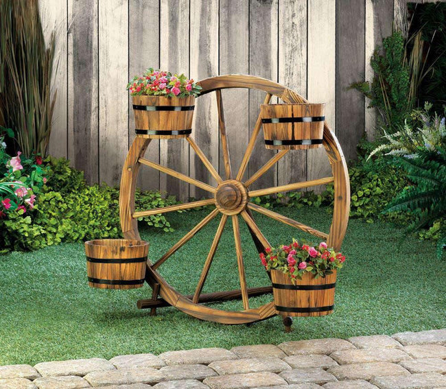 Wagon Wheel Barrel Planter Display - The Fox Decor