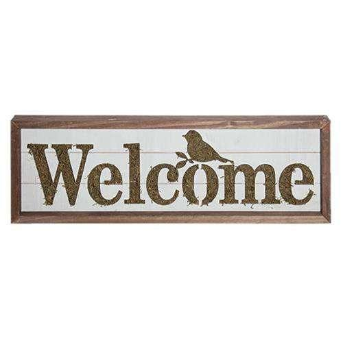 Welcome Sign w/ Moss Accent CHD Signs & Wall Accents CWI+