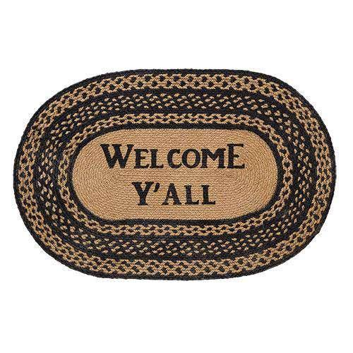 Welcome Y'all Farmhouse Jute Oval Rug Rugs CWI+