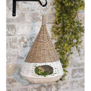 "White Dipped Willow Bird House, 16"" Baskets CWI+"