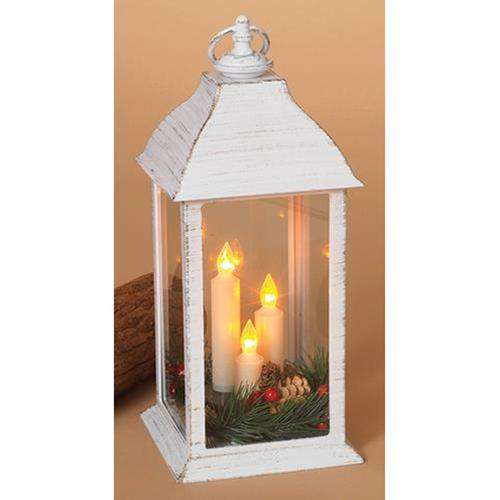 '+White Lantern w/3 Candles and Greenery, 12