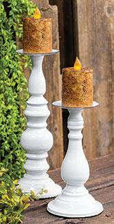 "White Pedestal Pillar Holder, 9"" Pillar & Votive Holders CWI+"